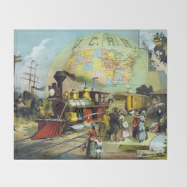 Vintage Transcontinental Railroad Throw Blanket