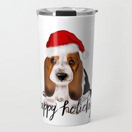 Cute Santa basset hound dog.Christmas puppy gift idea Travel Mug