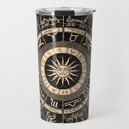 Vintage Zodiac & Astrology Chart | Charcoal & Gold Travel Mug