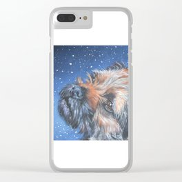 Border Terrier dog portrait art from an original painting by L.A.Shepard Clear iPhone Case