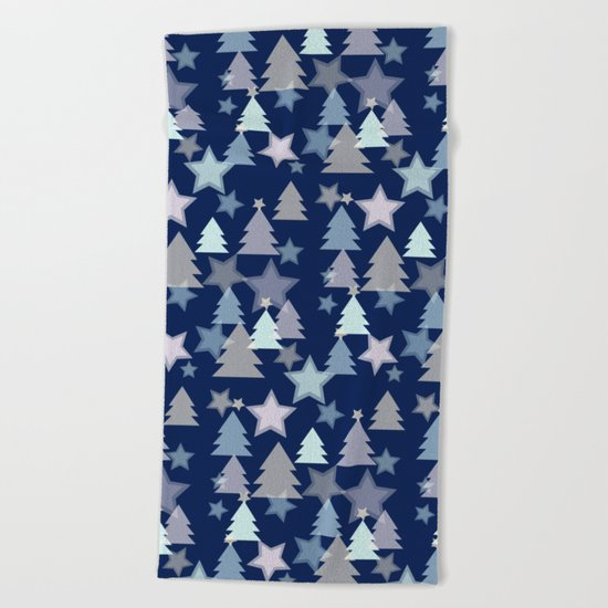 Christmas Landscape blue Beach Towel