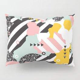 Spliced Geometric Memphis Pattern Geo Stripes Pillow Sham