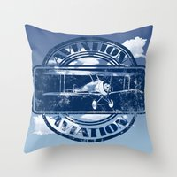 aviation Throw Pillows featuring Retro Aviation Art by MacDonald Creative Studios
