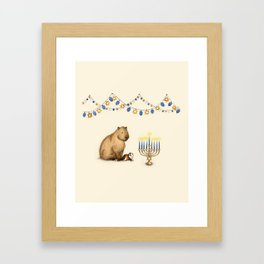 Capy Hanukkah - Capybara and Menorah Framed Art Print