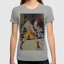boxer performing an uppercut punch on opponent T-shirt