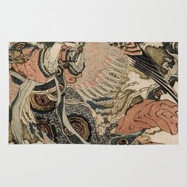 Hokusai, Aspara and the flute – musician manga, japan,hokusai,japanese,北斎,ミュージシャン Rug