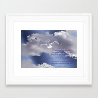 bible verses Framed Art Prints featuring Seagull with Matthew 6:26-26 Verses by Photos and Images by Corri