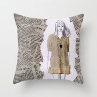 newspaper Throw Pillows featuring Newspaper by Melania B