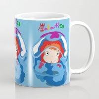 ponyo Mugs featuring gake no ue no ponyo by AvanArt