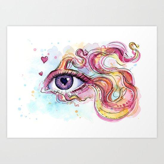 Eye Betta Fish Surreal Animal Hearts Watercolor Art Print