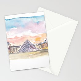 Paris Louvre at Sunset Stationery Cards