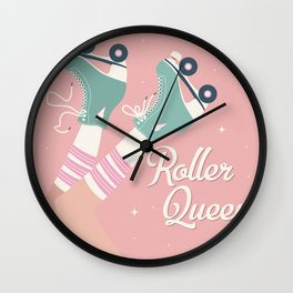 Roller skates girl 02 Wall Clock