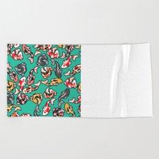 Aqua Koi Beach Towel