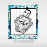 mac Shower Curtains featuring Mac is a turtle by kaitmonica