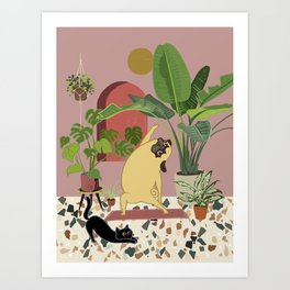 Pug Yoga with Plants Art Print