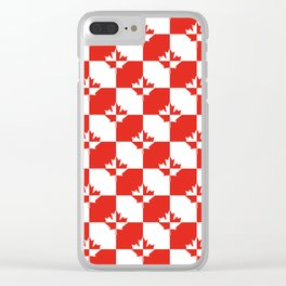 Red and White Canadian Maple Leaf Chess Board Checker Pattern Clear iPhone Case