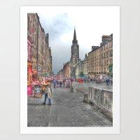 edinburgh Art Prints featuring Edinburgh by Christine Workman