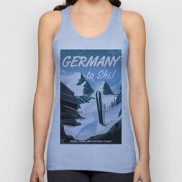 Germany to Ski! vintage travel poster Unisex Tank Top
