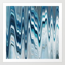 blue art, wave art, ocean art, earth art, contemporary print, painting print, beautiful art, wall de Art Print