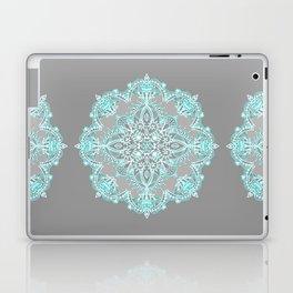 Teal and Aqua Lace Mandala on Grey Laptop & iPad Skin