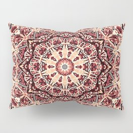 Beige Old Rose Mandala  Psychedelic Pattern Pillow Sham