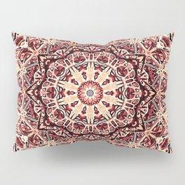 Beige Old Rose Mandala  Psychedelic Pattern Pillow Sham