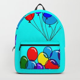 A Bouquet of Balloons with a Blue Background Backpack
