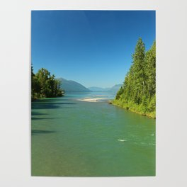 Green Waters Of McDonald River And Lake Poster