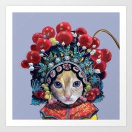 peking opera cat Art Print