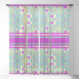 Kaleidoscope Purple Border Sheer Curtain