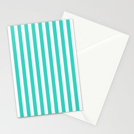 STRIPED DESIGN (TURQUOISE-WHITE) Stationery Cards