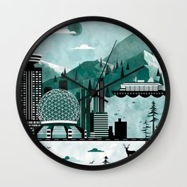 Vancouver Travel Poster Illustration Wall Clock