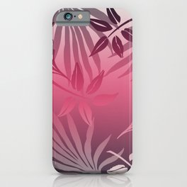 Pink Grey Palm Jungles Leaves Fantasy Graphic iPhone Case