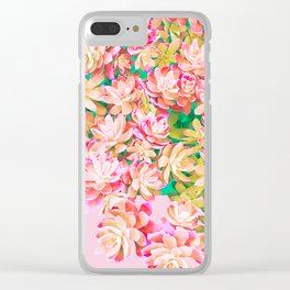 Cactus Fall - Pink and Green Clear iPhone Case