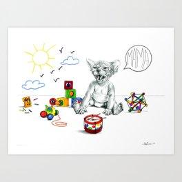 Bored baby Sphynx Art Print