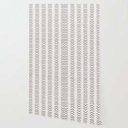 mudcloth pattern white black arrows Wallpaper