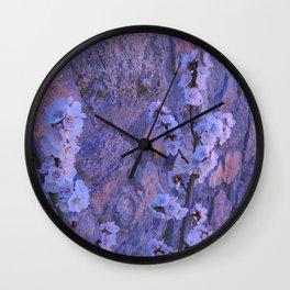 Pear Blossoms Lilac Wall Clock
