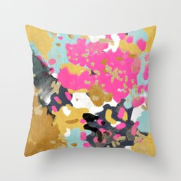 Sacha - abstract painting boho color palette bright happy dorm college abstract art Throw Pillow