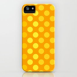 """Yellow & Ocher Burlap Texture & Polka Dots"" iPhone Case"