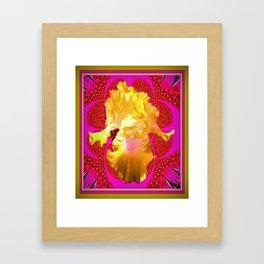 Yellow Iris On Fuchsia-Pink Patterned Art Design Framed Art Print