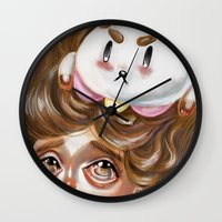 bee and puppycat Wall Clocks featuring A Bee and her PuppyCat by Kristin Frenzel