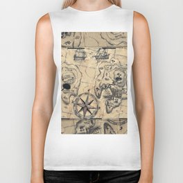 Old Nautical Map Biker Tank