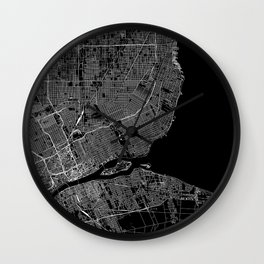 Detroit Black Map Wall Clock