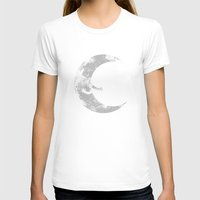 hug T-shirts featuring Moon Hug by carbine
