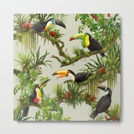 Toucans and Bromeliads (Canvas Background) Metal Print