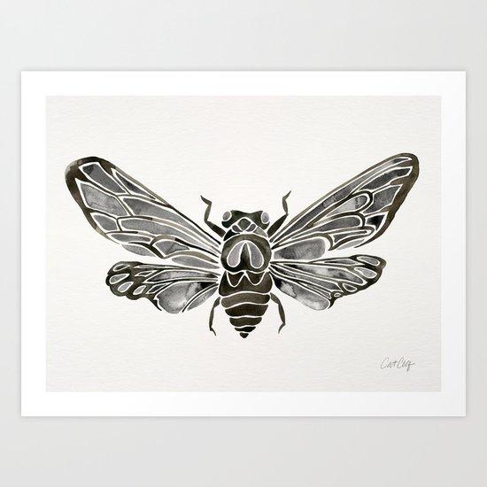 Summer Cicada – Black Palette Art Print