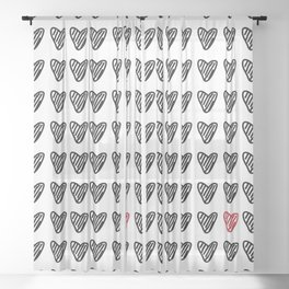 HEARTS ALL OVER PATTERN I Sheer Curtain