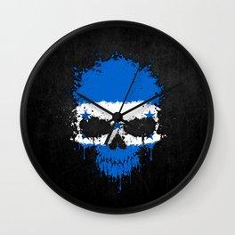 Flag of Honduras on a Chaotic Splatter Skull Wall Clock