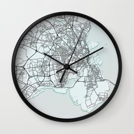 Copenhagen, Denmark, White, City, Map Wall Clock