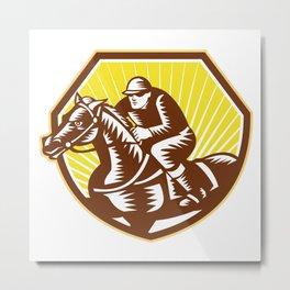 Thoroughbred Horse Racing Woodcut Retro Metal Print